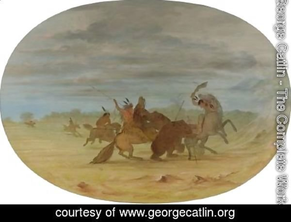 George Catlin - Indians Hunting The Grizzly Bear