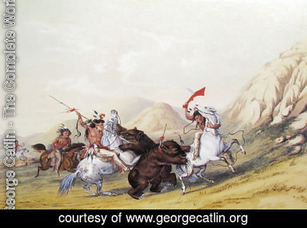 George Catlin - Attacking the Grizzly Bear